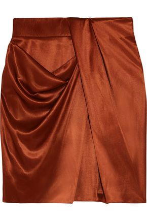 ATLEIN Draped metallic satin mini skirt