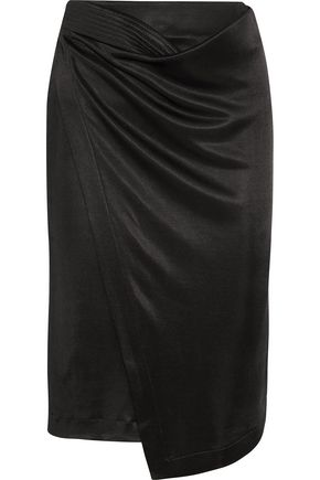 ATLEIN Asymmetric wrap-effect satin-twill skirt