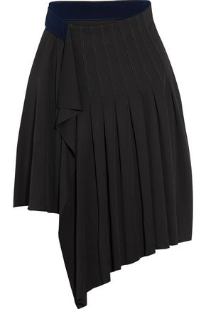 ATLEIN Asymmetric pleated crepe mini skirt