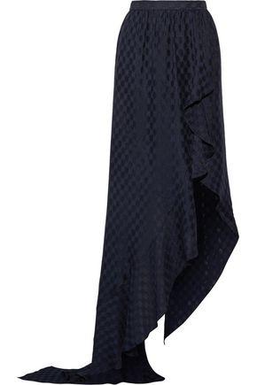 JUAN CARLOS OBANDO Asymmetric wrap-effect ruffled silk-jacquard maxi skirt