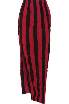 JUAN CARLOS OBANDO Striped crinkled silk crepe de chine maxi skirt