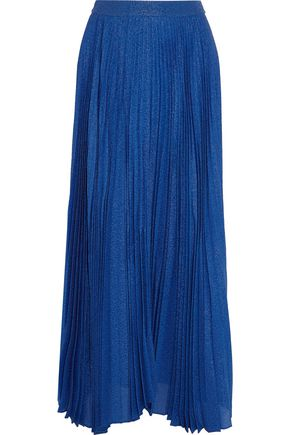 ALICE + OLIVIA Katz metallic pleated silk-blend jacquard maxi skirt