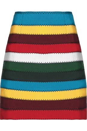 MARY KATRANTZOU Embellished appliquéd wool-crepe midi skirt