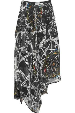 PREEN by THORNTON BREGAZZI Sage asymmetric printed devoré silk-blend chiffon skirt