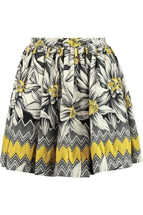 ALICE + OLIVIA JEANS Tania pleated cotton-blend jacquard mini skirt