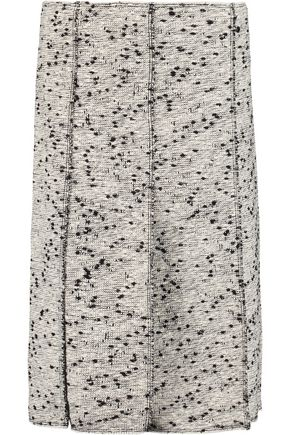 NINA RICCI Frayed cotton-blend bouclé skirt