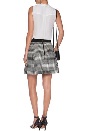 ALICE + OLIVIA Cindie wrap-effect checked bouclé-tweed mini skirt