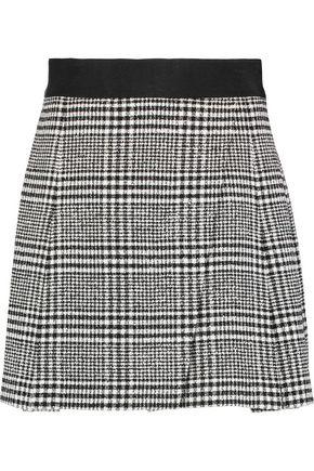 ALICE + OLIVIA Cindie wrap-effect checked bouclé-tweed mini skirt