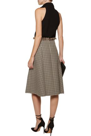 NINA RICCI Frayed checked wool skirt