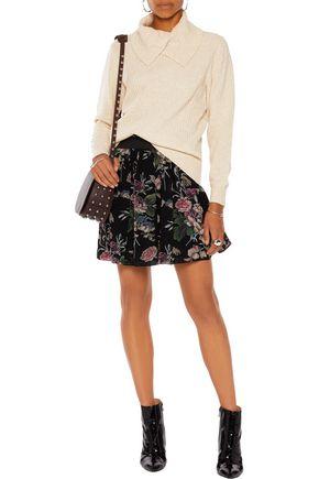 GANNI Ruffle-trimmed printed crepe mini skirt