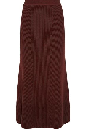 PRINGLE OF SCOTLAND Ribbed-knit midi skirt