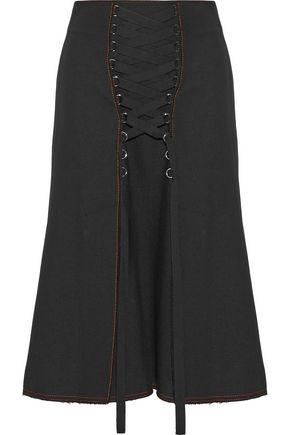 PROENZA SCHOULER Lace-up paneled twill midi skirt
