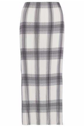 HELMUT LANG Checked plissé crepe de chine midi skirt