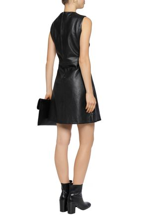 MUUBAA Whipstitch-trimmed leather mini dress