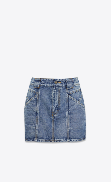 SAINT LAURENT Short Skirts D Mini skirt in faded blue denim a_V4