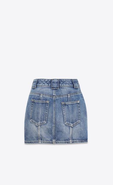 SAINT LAURENT Short Skirts D Mini skirt in faded blue denim b_V4