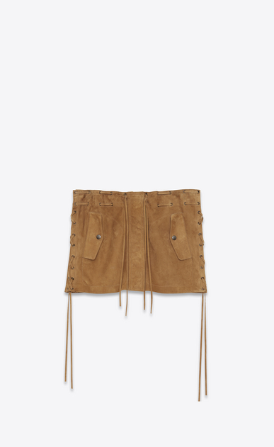 SAINT LAURENT Short Skirts D Laced mini skirt in tobacco suede a_V4