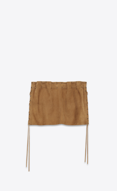 SAINT LAURENT Short Skirts D Laced mini skirt in tobacco suede b_V4