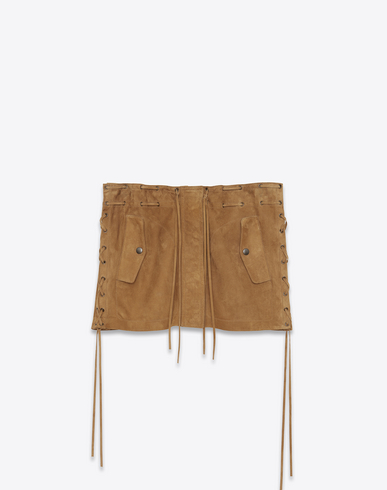 Laced Mini Skirt In Tobacco Suede