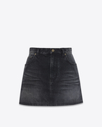 SAINT LAURENT Kurze Röcke D Mini skirt printed with PROPERTY in faded black denim f