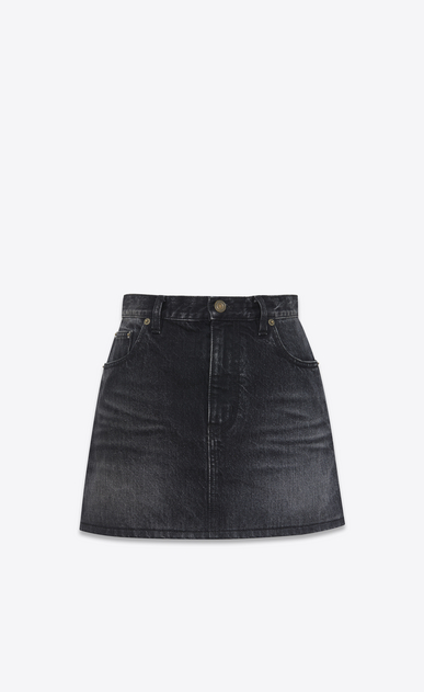 SAINT LAURENT Short Skirts D Mini skirt printed with PROPERTY in faded black denim a_V4