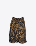 SAINT LAURENT Kurze Röcke D Gathered mini skirt in Georgette silk with a leopard print f