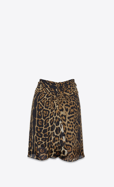 SAINT LAURENT Short Skirts D Gathered mini skirt in Georgette silk with a leopard print a_V4
