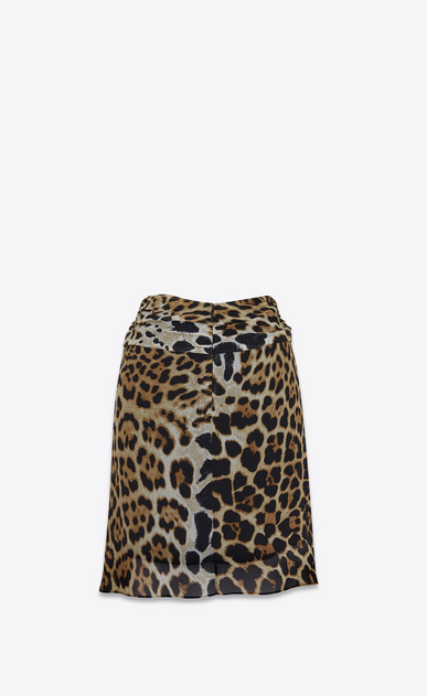 SAINT LAURENT Short Skirts D Gathered mini skirt in Georgette silk with a leopard print b_V4