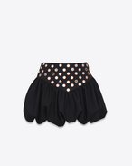 SAINT LAURENT Kurze Röcke D Mini skirt with a ruffled basque in embroidered black gabardine f