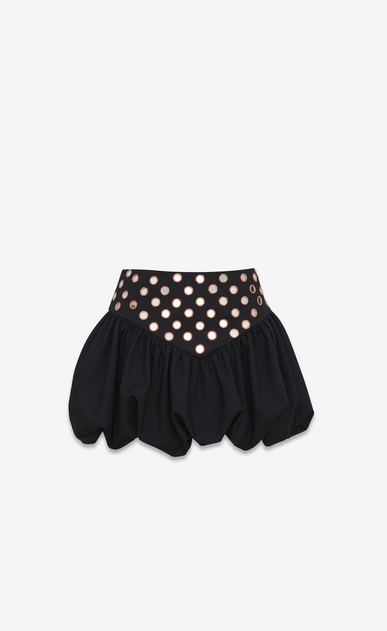 SAINT LAURENT Short Skirts D Mini skirt with a ruffled basque in embroidered black gabardine a_V4