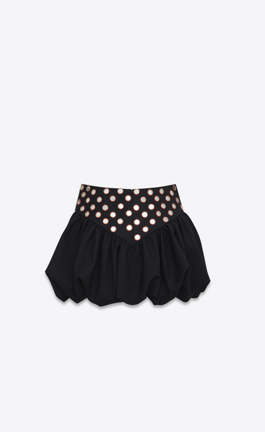 SAINT LAURENT Short Skirts Woman Mini skirt with a ruffled basque in embroidered black gabardine b_V4