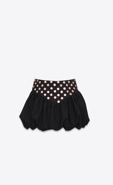 SAINT LAURENT Kurze Röcke Damen Minirock aus schwarzem Gabardine mit gerüschtem Zipfelsaum b_V4