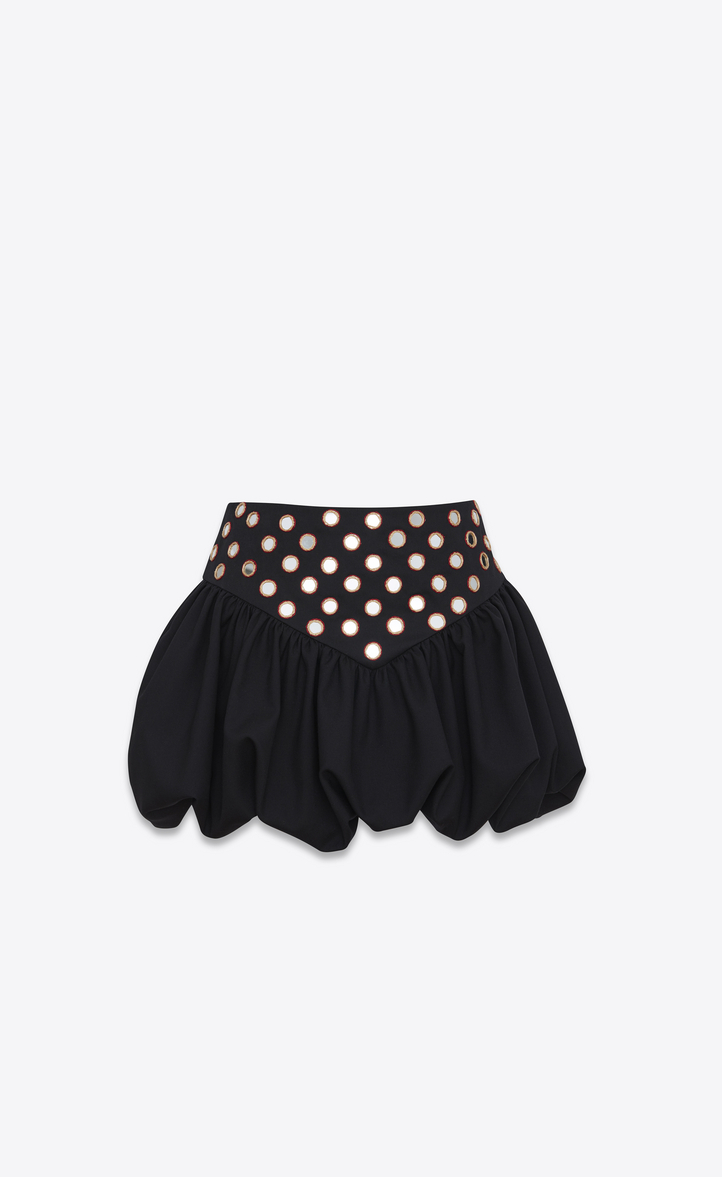 Wiki Online embroidered ruffle basque mini skirt - Black Saint Laurent Free Shipping Sneakernews AytW9