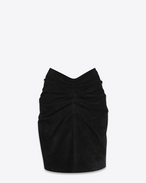 SAINT LAURENT Kurze Röcke D Gathered and draped mini skirt in black suede f