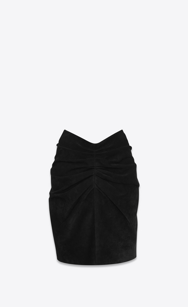 SAINT LAURENT Short Skirts D Gathered and draped mini skirt in black suede a_V4