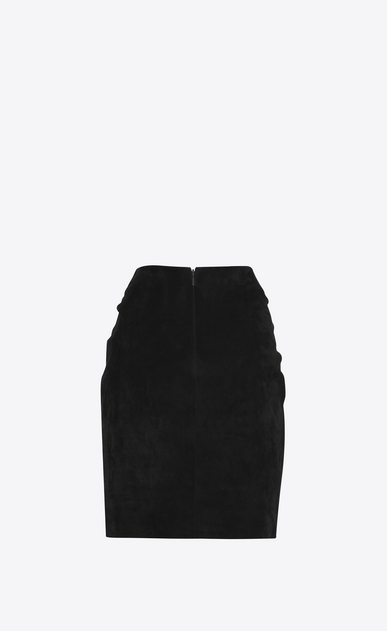 SAINT LAURENT Short Skirts D Gathered and draped mini skirt in black suede b_V4