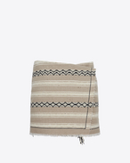 SAINT LAURENT Kurze Röcke D Mini wrap-around skirt in beige Berber cloth. f