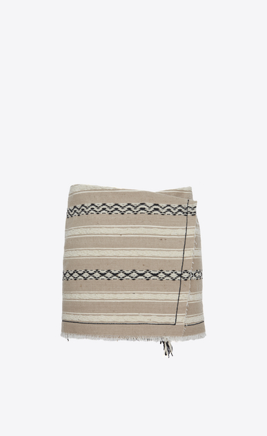 SAINT LAURENT Short Skirts Woman Mini wrap-around skirt in beige Berber cloth. a_V4