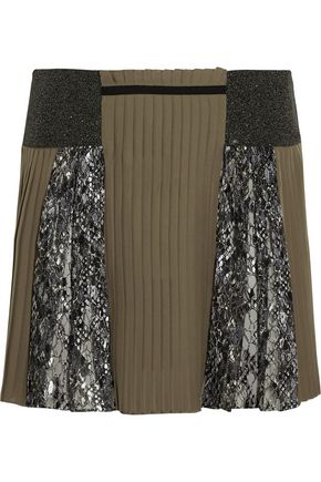 MARY KATRANTZOU Embroidered tulle and pleated silk mini skirt