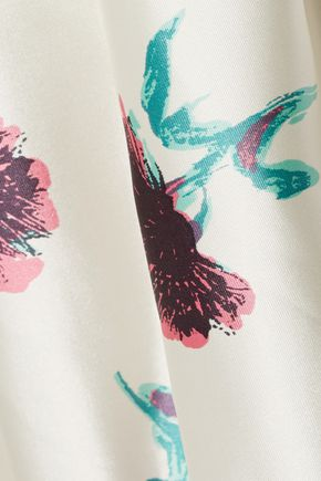 OSCAR DE LA RENTA Floral-print silk-satin midi skirt