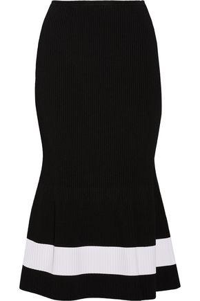 VICTORIA BECKHAM Fluted striped stretch-knit midi skirt