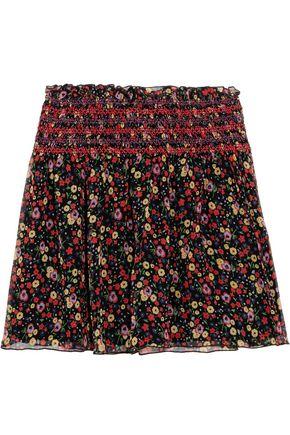 ANNA SUI Smocked printed silk-crepon mini skirt