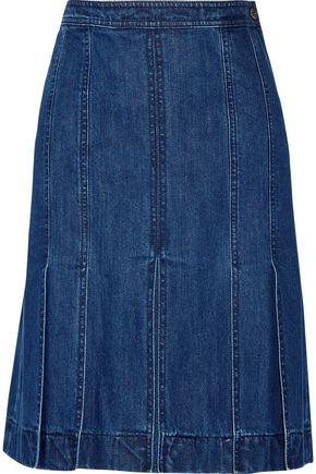 MICHAEL KORS COLLECTION Pleated denim skirt