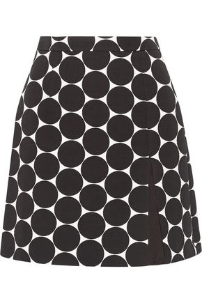 MICHAEL KORS COLLECTION Polka-dot cotton and silk-blend matelassé mini skirt
