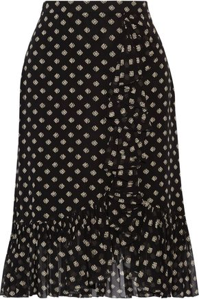 TORY BURCH Indie ruffle-trimmed printed silk-georgette skirt