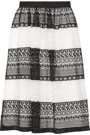 ALICE + OLIVIA Two-tone crocheted midi skirt