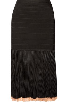HERVÉ LÉGER Ribbed-knit and bandage skirt