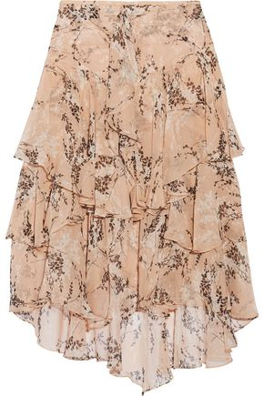 JASON WU Asymmetric ruffled floral-print silk-georgette midi skirt
