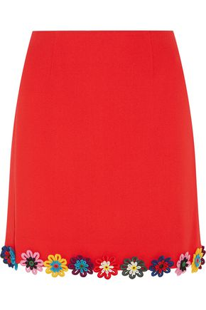 MARY KATRANTZOU Clovis floral-appliquéd wool-crepe mini skirt