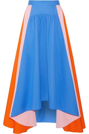 PETER PILOTTO Asymmetric color-block cotton-poplin midi skirt